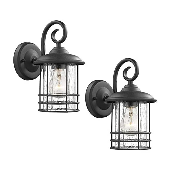 Emliviar 1-Light Outdoor Wall Lantern 2 Pack, Exterior Wall Lamp Light in Black Finish with Clear Seeded Glass -Twin Pack, OS-1803CW1 - Weather resistant and suitable for wet locations, these two pack outdoor wall lights features sturdy metal construction and seeded glass shade Easy installation with open bottom to allow for easy bulb replacement. Includes all mounting hardware Hard wired. Requires 1x E26 base bulb(Max.100W) per light. Bulb NOT included - patio, outdoor-lights, outdoor-decor - 41fto1MxG9L. SS570  -