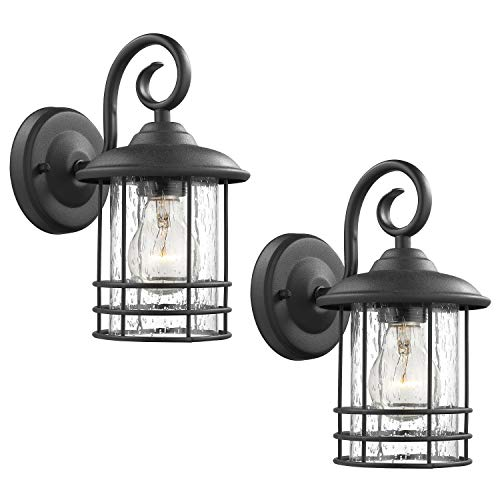 Emliviar 1-Light Outdoor Wall Lantern 2 Pack, Exterior Wall Lamp Light in Black Finish with Clear Seeded Glass -Twin Pack, OS-1803CW1 ()