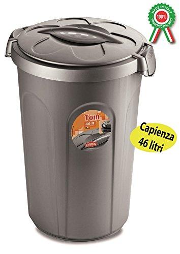 Bidone per rifiuti immondizia secchio pattumiera grigio con coperchio 46 litri
