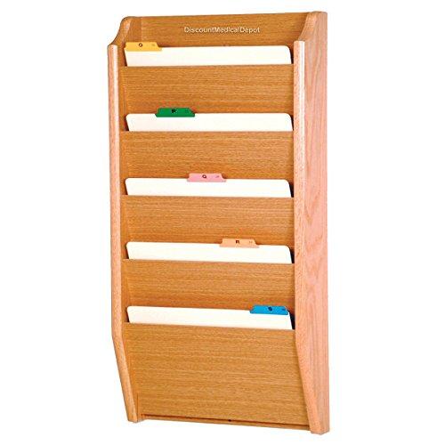 DMD File Holder, Wall Mount Patient Chart Rack, 5 Pocket Wooden Legal Size, Light Oak