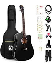 Vangoa Acoustic Electric Guitar, 41 Inch Full Size Dreadnought Acoustic-electric Cutaway Guitar Folk Beginner Kit, Matte Black