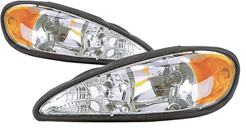 For 1999 2000 2001 2002 2003 2004 2005 Pontiac Grand Am Headlight Headlamp Assembly Driver Left and Passenger Right Side Pair Set Replacement GM2502196 GM2503196