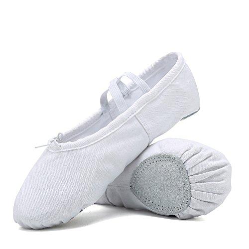 CIOR Ballet Slippers for Girls Classic Split-Sole Canvas Dance Gymnastics Yoga Shoes Flats(Toddler/Little Kid/Big Kid/Women) (White Ballet Shoes)