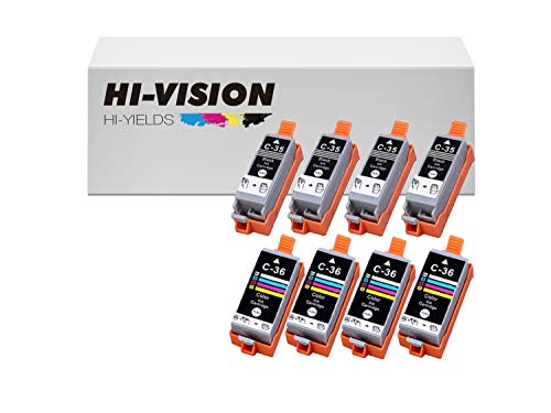 - HI-Vision Compatible PGI-35+CLI-36 Pigment Compatible (4-Pack) Black & (4-Pack) Tri Color Ink Cartridge Replacement for Pixma iP100, iP110