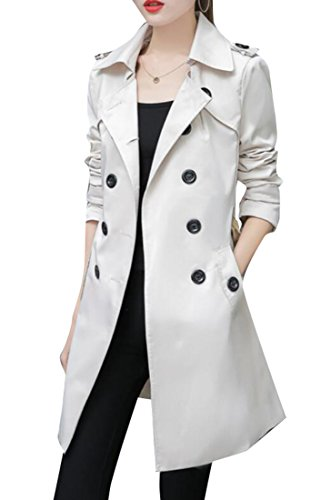 Belted Floral Trench Coat - UUYUK-Women Double Breasted Belted Trench Suit Windbreaker Coat Beige White US S