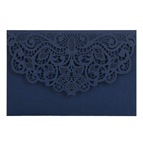 BESNIN Laser Cut Invitations,40 Pcs lace Invites for Wedding Engagement Birthday Baby Shower Party Graduation,Square Hollow Flower Invitation Kits with Blank Printable Paper