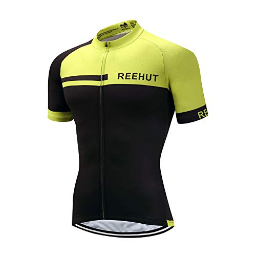 (REEHUT Mens Breathable Cycling Jersey Biker Short Sleeve Shirt Quick Dry Full Zip Men's Bicycle Jacket with Pockets - Green,XL)