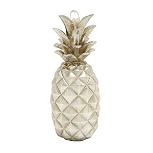 "Deco 79 Ps Silver Pineapple 6"" W, 14"" H-62364, 6"" W/14 H 8"