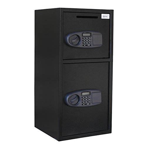 Zeny Large Double Door Digital Deposit Safe Box Cash Jewelry Gun Drop Security Lock Box