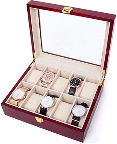 ソリッドウッドウォッチボックスオーガナイザー木製時計収納ボックス10スロットクリエイティブシンプルレトロバースデーギフトディスプレイケースケースガラスカバー付き