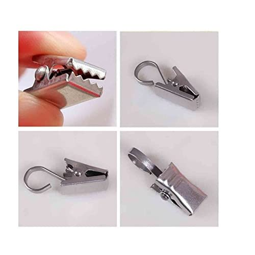Heavy Duty Curtain Clips Hook ,Extra Hard Thickening Home Decoration Arts & Crafts Stainless Steel Metal Tongs Socks Clip Kitchen Clincher; Photos Clamp Hook Shower Curtain Pack of 100 Silver new