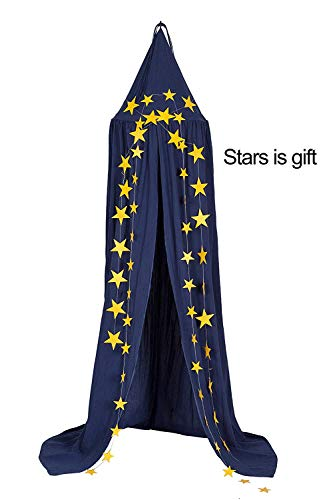 (Dix-Rainbow Princess Bed Canopy Mosquito Net for Kids Baby Bed, Round Dome Kids Indoor Outdoor Castle Play Tent Hanging House Decoration Reading Nook Cotton Midnight Blue)