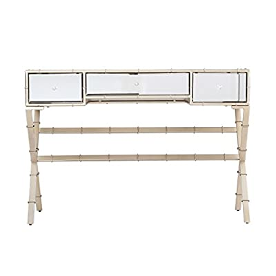 """Furniture HotSpot - Mirrored Console Table – Mirror and Champagne - 44"""" W x 17.5"""" D x 31"""" H - Sofa table's design features mirrored exterior with champagne colored faux bamboo trim Console entry table features 3 storage drawers with faux crystal knob details Materials: Beveled mirror, iron tube, and engineered wood - living-room-furniture, living-room, console-tables - 41ftpd6zMrL. SS400  -"""