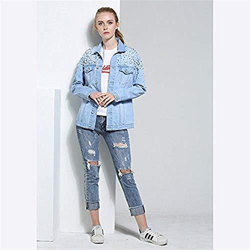 Giacche Chic Outerwear Perline Autunno Donna Breasted Tasche Anteriori Single Bavero Blau Giacca Giubotto Moda Lunghe Maniche Unico Di Accogliente Cute Jeans Elegante Zdttnq