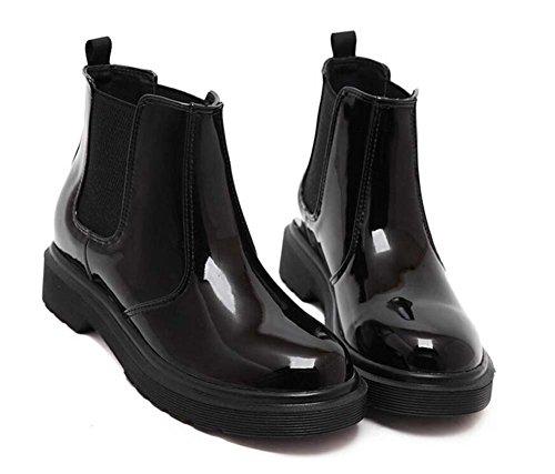 Botas de Chelsea Botas de caballero Bootie Mujer guapo dedo del pie redondo banda elástica 4cm Chunkly Heel Patente de cuero Botas de tobillo grueso Locomotora Martin Boots Eu Tamaño 34-43 Black plus velvet