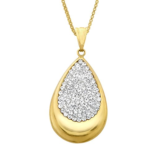 UPC 729367609847, Crystaluxe Teardrop Pendant Necklace with Swarovski Crystals in 14K Gold-Plated Sterling Silver