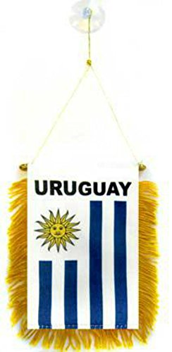 ALBATROS Uruguay Mini Flag 4 inch x 6 inch Window Banner with Suction Cup for Home and Parades, Official Party, All Weather Indoors Outdoors