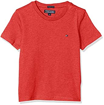TOMMY HILFIGER Kids Basic Crew Neck Knit Tee, Apple Red Heather, 10