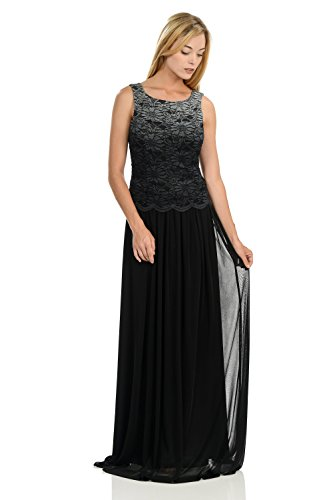TwinMod Chiffon and Lace Bridesmaid Formal Dress With Cardigan (2X-Large, Black)