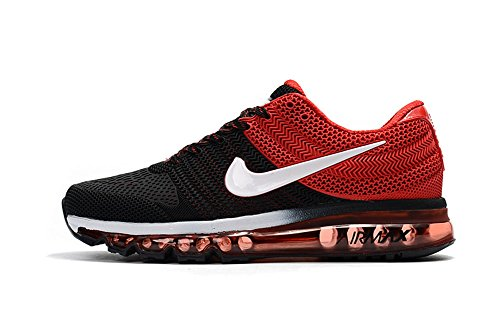 Air MAX Breathable Sports Casual Running Shoes Men Black/red 9.5 D(M) US=43EU