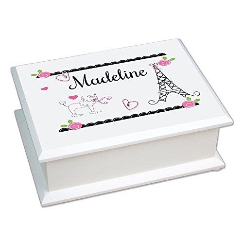 MyBambino Personalized French Paris Lift Top Jewelry Box ()