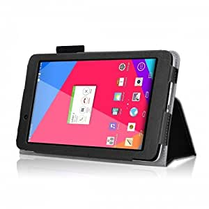 LG G Pad 7.0 WiFi, LTE Black Leather Folio Case W/ Stand & Card Slot (Black) AT&T