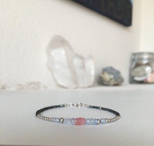 JP_Beads Sapphire Bracelet, fine Jewelry, 14k White Gold, Sapphire Jewelry, Black Spinel, Gift for her, Edgy Jewelry, Minimalist Bracelet, Gemstone 2-4mm