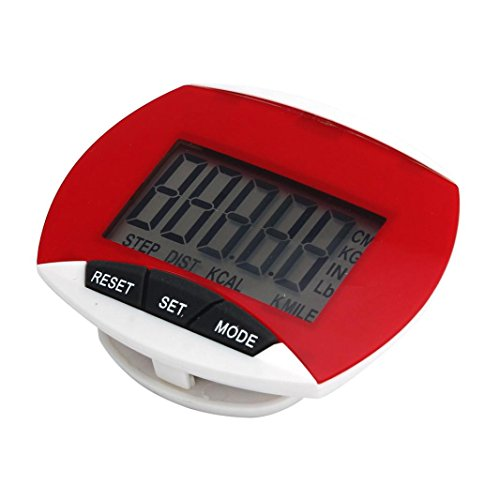 Sandistore Waterproof LCD Run Step Pedometer Walking Distance Calorie Counter (Red)