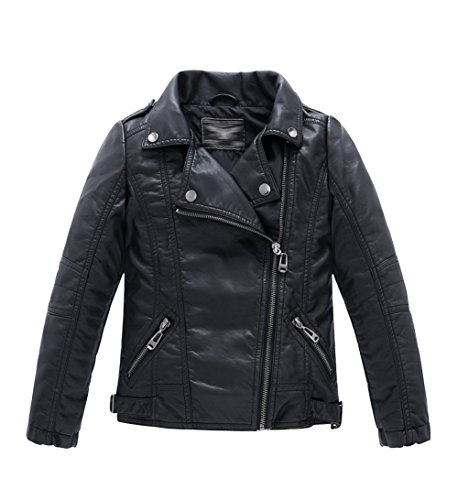 YoungSoul Boys Girls Spring Moto Faux Leather Jackets with Oblique Zipper Black -