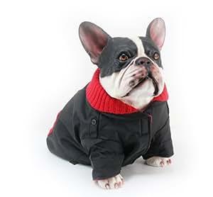 Dogit Dog Peacoat with Red Knit, Medium, Black