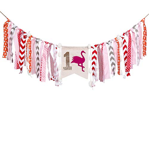 HighChair Banner for 1st Birthday, Flamingo First Birthday Banner,Burlap Banner for 1st birthday decorations - Best Party Supplies and Gifts for Kids by Partico
