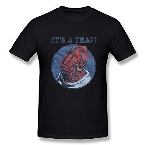 Price comparison product image Jahei Custom Star Wars It's A Trap Admiral Ackbar Men Tshirt 100% Cotton Black L