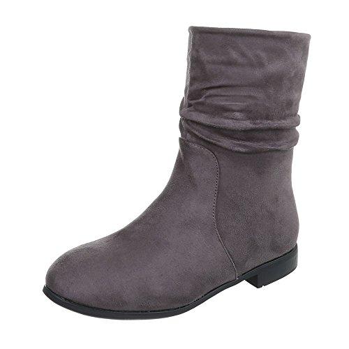 Ital-Design Klassische Stiefeletten Damenschuhe Schlupfstiefel Blockabsatz Blockabsatz Reißverschluss Stiefeletten Grau