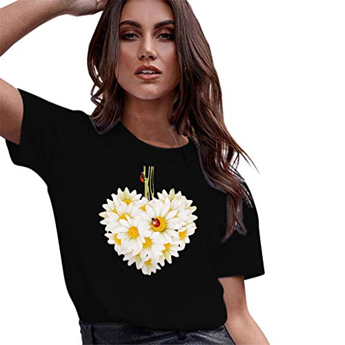 Casual Graghic T Shirt for Women,QueenMMWomen Basic Printed Short Sleeve O Neck Tops Flower and Ladybug Blouse t-Shirt