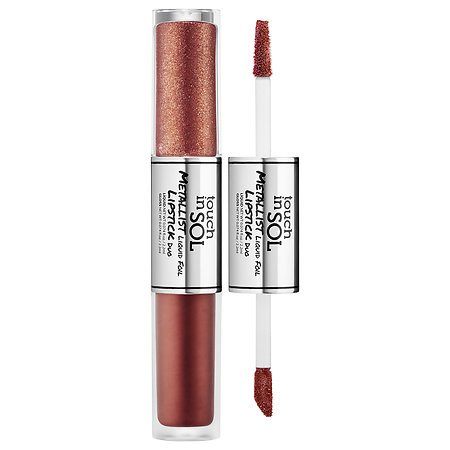 [Touch In Sol] Metallist Liquid Foil Lipstick Duo (04 Zaza) /Bold Lip Gloss, Vivid Metallic Shimmer Color Lip Gloss