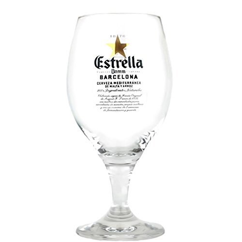 Estrella Damm Barcelona, Spain Signature Glass Chalice 330 mil by Estralla Damm
