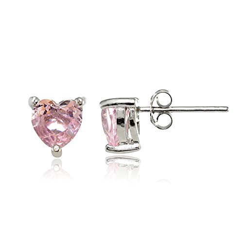 Sterling Silver Simulated Pink Tourmaline 6mm Heart Stud - Earrings Gems Simulated