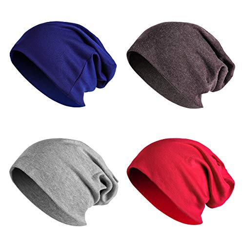 JOYEBUY 4 Pack Women Men Stylish Cotton Beanie Cap Slouchy Beanies Hats Soft Sleep Cap (Style C) ()