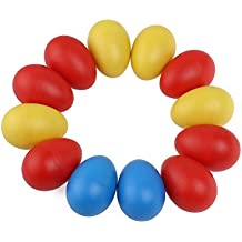 Tinksky 12pcs Plastic Percussion Musical Egg Maracas Egg Shakers Child Kids Toys (Random Color)