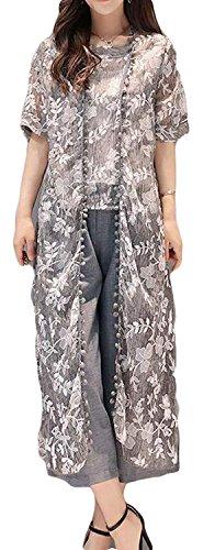 レディース 夏 ロングカーディガン 綿 麻 Tシャツ 花柄 7分丈 ワイドパンツ 無地 ファッション 3点セット フェミニン 冷房対策