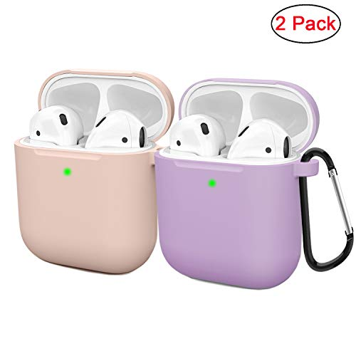 Compatible AirPods Case Cover Silicone Protective Skin for Apple Airpods Case 2&1 (2 Pack) Sand Pink/Purple