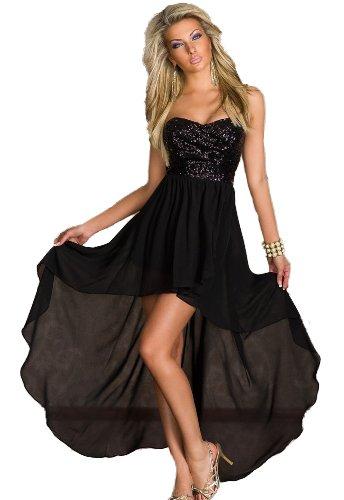 [made2envy Charming Chiffon Sequined Asymmetric Long Dres (L, Black) C6153-2L] (Masquerade Dress)