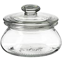 jar with lid, clear glass