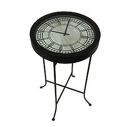 Metal & Glass Floor Clocks Clocktail Time Metal Marbled Black Clock Table W/Glass Top 15 X 27.5 X 15 Inches Black