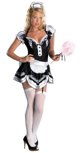 Secret Wishes Women's Francesca Adult Sassy Maid Costume, Black/White, Medium (Womens Sexy French Maid Costume)