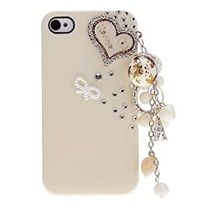 SOL ships in 48 hours Heart-Shape Pattern with Diamond Hard Case with Pendant and Adhesive for iPhone 4/4S (Assorted Colors) , Purple