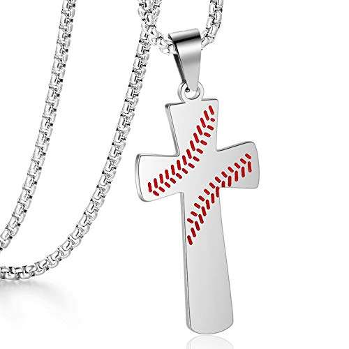 Baseball White Necklace Faith Rock Fashion Jewelry Silver Cool Pendant with 22in Chain for Men Women ()