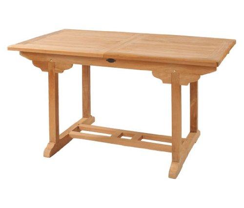 Ausziehtisch Tivoli aus Teakholz, 160-220cm ✓ Wetterfest ✓ Nachhaltig ✓ Robust | Eckiger Holztisch als großer Küchen-Tisch, Balkon-Tisch, Garten-Tisch | Ausziehbarer Teak-Tisch, Esstisch für draußen | Verlängerbares Garten-Möbel aus Massiv-Holz