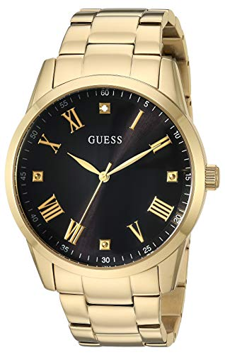 GUESS  Gold-Tone Stainless Steel Bracelet Watch with Black Genuine Diamond Dial + Gold-Tone Roman Numerals. Color: Rose Gold-Tone (Model U1194G3) (Guess Black Diamond Accent Watch)