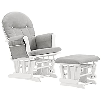 Image of Angel Line Celine Glider and Ottoman, White/Gray Cushion with White Piping Home and Kitchen
